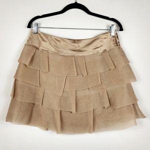 BCBGMaxAzria Mini Skirt Silk Layered Ruffle NWT